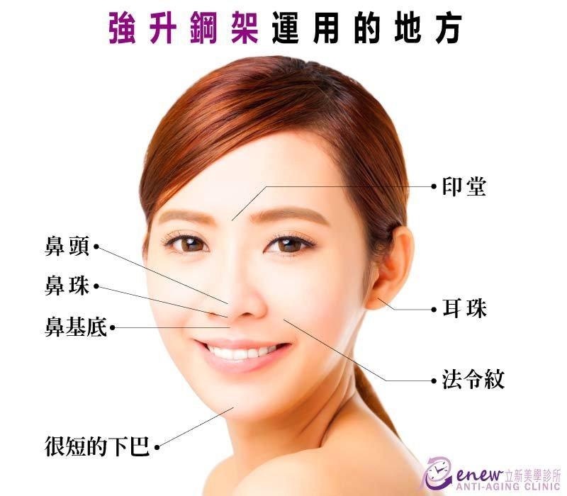 強身鋼架運用的地方,鼻頭,鼻珠,鼻基底,很短的下巴,印堂,耳珠,法令紋